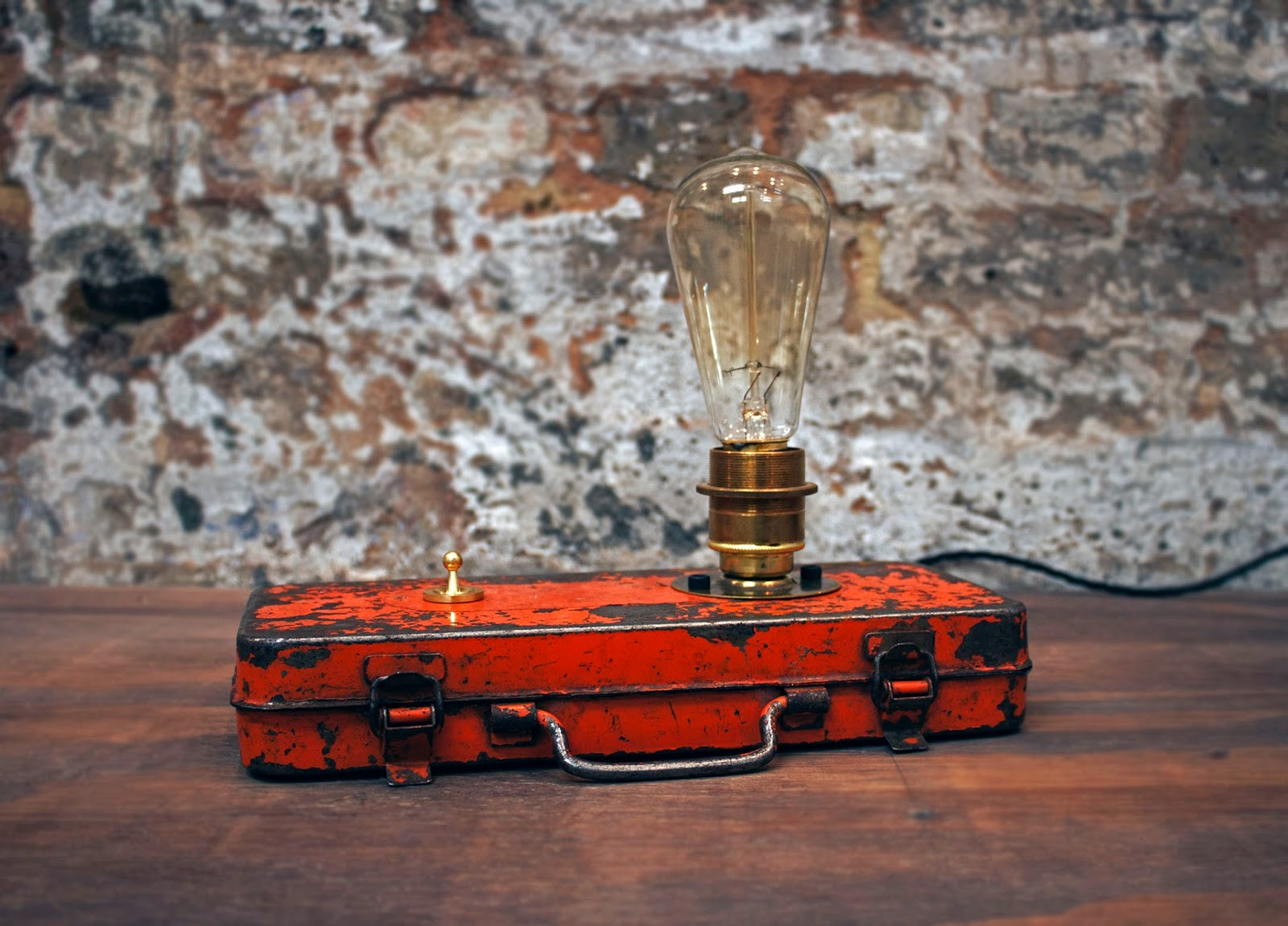 Victoria King Orange Lamp, Vintage tin box with edison filament lightbulb, -ú165